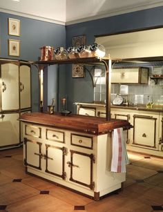 Vintage kitchen island with cabinets