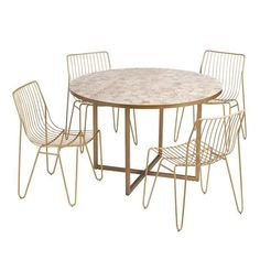 weekend sales Round Marble Table, Round Dining Table Sets, Outdoor Dining Set, Outdoor Chairs, Outdoor Furniture, Balcony Chairs, Affordable Home Decor, Metal Chairs, Marble Top
