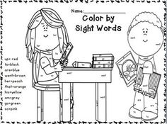 Sight Word Coloring Back to School Themed: Kindergarten