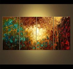 Enormous Abstract Landscape Blooming Trees Painting Original Textured Landscape Red Teal Turquoise Acrylic Painting by Osnat - MADE-TO-ORDER