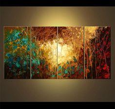 Paisaje abstracto enormes árboles florecientes pintura Original textura del paisaje rojo pintura acrílica color turquesa Teal por Osnat - hecho por encargo