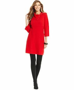 Style&co. Dress, Three-Quarter-Sleeve Ribbed-Knit Sweater Dress -----from qa