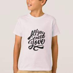 All You Need Love Beatles Music fan Typography Lyric T-shirt for Kids Children's