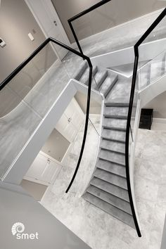Carpeted stairs with glass balustrade – staircase Staircase Design Modern, Luxury Staircase, House Staircase, Stair Railing Design, Home Stairs Design, Modern Stairs, Home Room Design, Modern House Design, Staircases