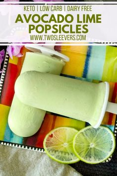These delightfully light and refreshing Avocado Lime Popsicles are the perfect way to cool down this summer! They& low carb and a fantastic keto fat bomb! Low Carb Sweets, Low Carb Desserts, Vegan Desserts, Keto Avocado, Avocado Recipes, Avocado Dessert, Avocado Popsicles, Low Carb Ice Cream, Dairy Free Recipes