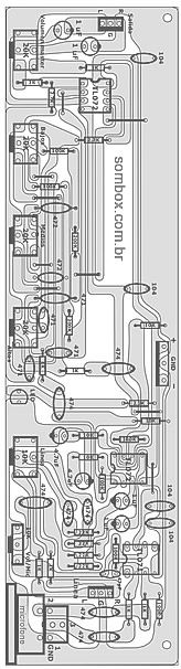 click na imagem para ampliar -- DESENHO DA PLACA DE CIRCUITO COM A DISPOSIÇÃO DOS COMPONENTES.