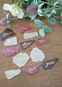 For an overseas style seating card. How to Make a Wedding Seat Card Using Seagrass / Paper Items Seat Cards / WEDDING Wedding Seating, Wedding Table, Diy Wedding, Wedding Day, Green Wedding, Wedding Name Tags, Wedding Cards, Wedding Invitations, Diy Resin Crafts