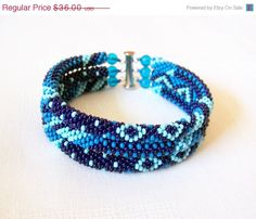 CIJ SALE SALE - Beadwork - 3 Strand Bead Crochet Rope Bracelet in blue, dark blue and sky blue - beaded jewelry - seed beads bracelet via Etsy