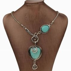 Nature-Turquoise-Vintage-Heart-Bib-Collar-Statement-Stone-Long-Pendant-Necklace