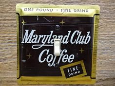 Switch Plate Made From A Vintage Maryland Club Coffee Tin by tincansally