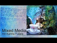 """karina fulara - YouTube Ein kuzes Tutorial zu einem kleinen Mixed Media Bild auf Malpappe (15x15 cm). """"Tee im Garten"""" verbindet zwei Dinge die ich sehr liebe: Das Tee trinken und Gärten. Die feinen Details die das Bild erst zu einer einzigartigen Miniatur machen, sind im Video sehr stark vergrößert. Das gesamte Bild ist zum Schluss mit dem Self Leveling Gel von Golden versiegelt. Dadurch entseht eine wunderbar glänzende, glasähnliche Oberfläche."""