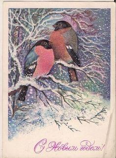 pocztówkowa GILE NA DRZEWIE Święta Nowy Rok ZSRR