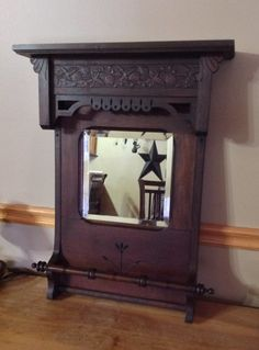 Mirror made from antique pump organ (circa 1896). Primitive upcycled repurposed furniture.