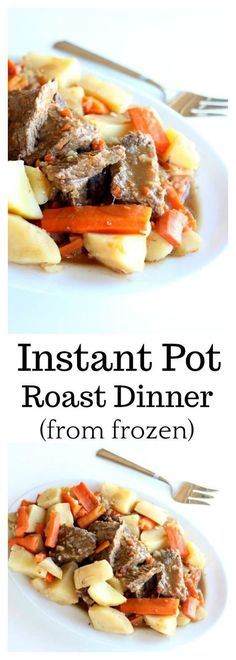 Instant Pot 5-Ingredient Pot Roast Dinner–a chuck roast is cooked until moist and tender in an hour in your Instant Pot (mine was frozen!) along with seasoned vegetables. The meal is finished off with homemade gravy.