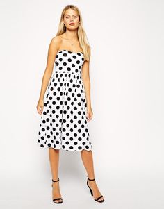 ASOS | ASOS Bandeau Midi Dress in Spot Print at ASOS