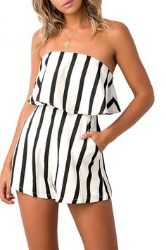 6fb81d8621 Sexy Casual Off Shoulder Striped Romper. Streetinstyle. Striped ShortsStriped  PlaysuitShort ...