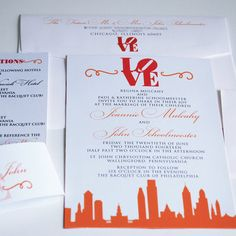 Wedding Invitation, Wedding Invite, Invitation Set, Philadelphia Wedding, Wedding Stationery, Customized Invites, Philly, Elegant Wedding