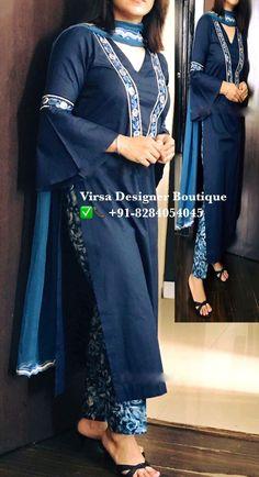 Kurti Sleeves Design, Sleeves Designs For Dresses, Kurta Neck Design, Salwar Designs, Blouse Designs, Suit Fashion, Fashion Outfits, Boutique Suits, Indian Designer Suits