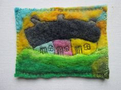 This is an original aceo made from wet felted merino. I have also added some machine stitching to outline the houses and add details like the Felt Pictures, Yellow Sky, Felting, Outline, Stitching, Original Art, Things To Come, Houses, Paintings