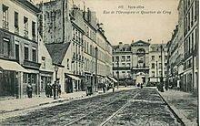 Versailles, avant la Première Guerre mondiale. On y voit les rails du tramway de Versailles, qui fonctionna de 1876 à 1957.