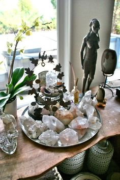 anahata's home.  a tray of crystal.