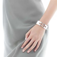 Tiffany T cutout hinged cuff in sterling silver, medium.