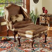 Leather/Cow Print Chair and Ottoman