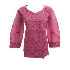 Mogulinterior Desinger Tunic Top Pink Floral Embroidered Cotton Short Blouse Kurta M