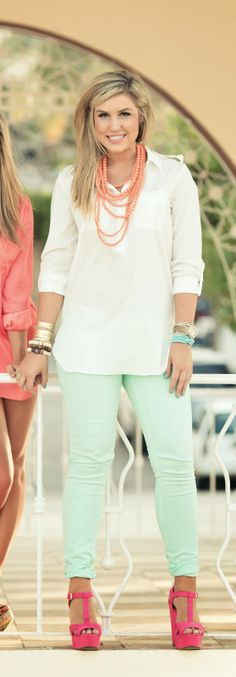 love this entire outfit! white blouse - mint pastel jeans - orange necklace - pink shoes