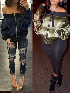 Autumn Fashion Zipper Off Shoulder Bomber Jacket