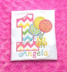 Girls Applique Lollipop & Birthday Number Chevron Bodysuit or T-Shirt