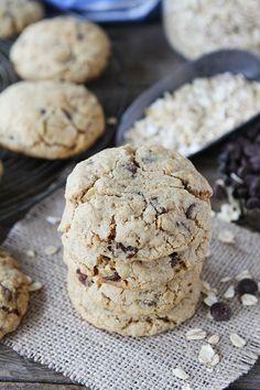 Whole Wheat Toasted Oatmeal Chocolate Chip Cookie Recipe on twopeasandtheirpod.com