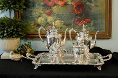 5 Piece Sheridan Silver Plate Tea Set - Complete Tea Service with Butlers Tray - Large Silver Tray with Handles