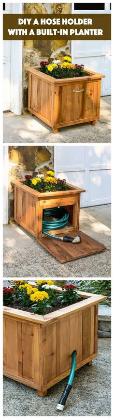 Ted's Woodworking Plans - DIY Pallet Wood Hose Holder with Planter Get A Lifetime Of Project Ideas & Inspiration! Step By Step Woodworking Plans Woodworking Projects Diy, Diy Pallet Projects, Outdoor Projects, Garden Projects, Woodworking Plans, Pallet Ideas, Woodworking Skills, Woodworking Techniques, Woodworking Furniture