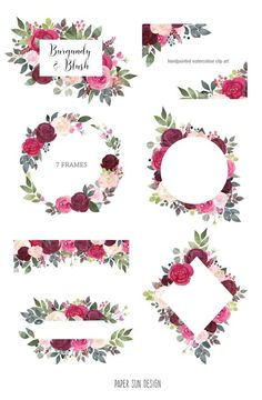Floral Clipart - Watercolor flower frames and borders/ roses, succulent and cactus designs for DIY wedding invites and other graphics Flower Picture Frames, Flower Frame, Picture Ideas, Floral Frames, Rose Clipart, Fleur Design, Sun Designs, Rose Frame, Blush Flowers