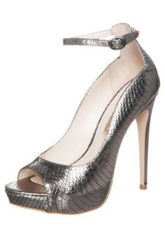 Højhælede peep-toes - serpente new metallic pewter