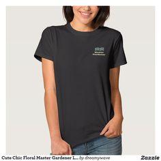 Cute Chic Floral Master Gardener Logo T-Shirt