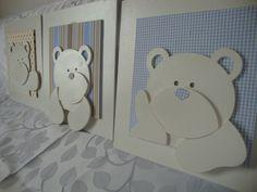 Trio de quadro 3D Ursos!    Pode personalizar com o nome do bebê.    ***Verificar tecidos disponíveis antes de efetuar a compra.