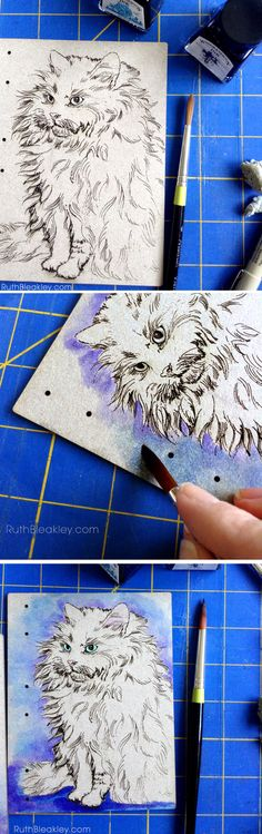 Hand painted cat journal by book artist Ruth Bleakley