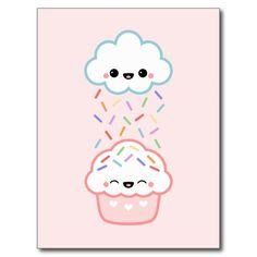 Super cute cloud raining rainbow sprinkles on happy cupcake!