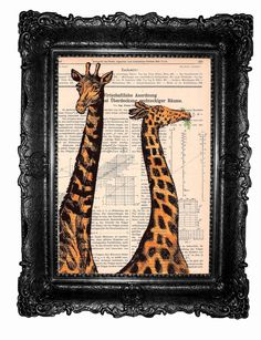 Orange giraffes ORIGINAL ARTWORK Mixed Media  Hand by ArtElem,