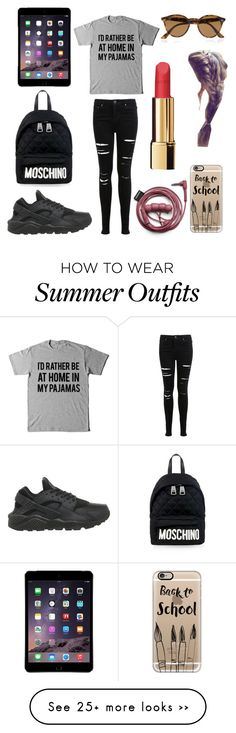 """""""School outfit"""" by aamevl on Polyvore featuring Miss Selfridge, NIKE, Moschino, Casetify, Ray-Ban and Chanel"""