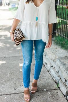 Summer Style via Glitter & Gingham // Gap Jeans, White Blouse, Leopard Clutch, Kendra Scott Necklace