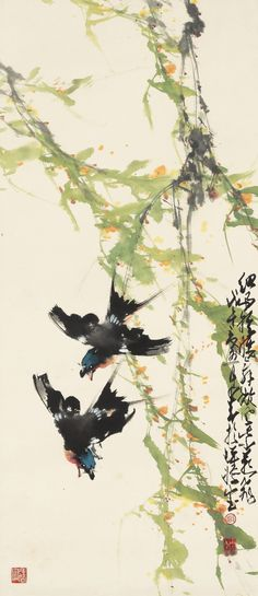 Zhao Shao'ang (1905-1998) SWALLOWS UNDER THE WILLOWS ink and colour on paper, hanging scroll 95.3 BY 41 CM. 37 1/2 BY 16 1/8 IN. 趙少昂 (1905-1998) 微風紫燕飛 設色紙本 立軸 一九七八年作 款識:細雨輕腰舞,微風紫燕飛。戊午夏五月。少昂於蟬嫣室。 鈐印:「趙」、「少昂」、「蟬嫣室」。 95.3 BY 41 CM. 37 1/2 BY 16 1/8 IN.