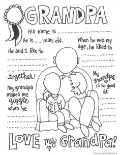 Grandparents Day Coloring Pages . 30 Awesome Grandparents Day Coloring Pages . the Cutest Grandparents Day Coloring Pages Aj Grandparents Day Activities, Gift Ideas For Grandparents, Happy Birthday Grandpa, Birthday Uncle, Fathers Day Coloring Page, Family Coloring Pages, Daddy Day, Father's Day Diy, Grandparent Gifts