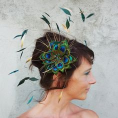 British Wedding Hats Fascinators   Peacock fascinator from etsy shop Head Full of Feathers }