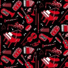 Musicality Fabric Black Music Instruments On Black Premium Cotton #8770 099 #BlankQuilting