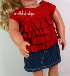 18 inch Doll Clothes American Girl  Red by snowflakeboutique
