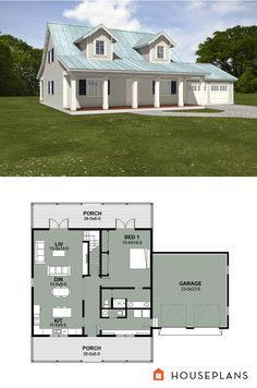 Farmhouse Plan #497-9. houseplans.com #FarmhousePlan #ModernArchitecture…
