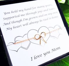 Gifts for Mom, Mother of the Bride gift, Gold Bow Bracelet with card, Wedding gift for Mom, Mother's Day Gift, Mother's Day Card,